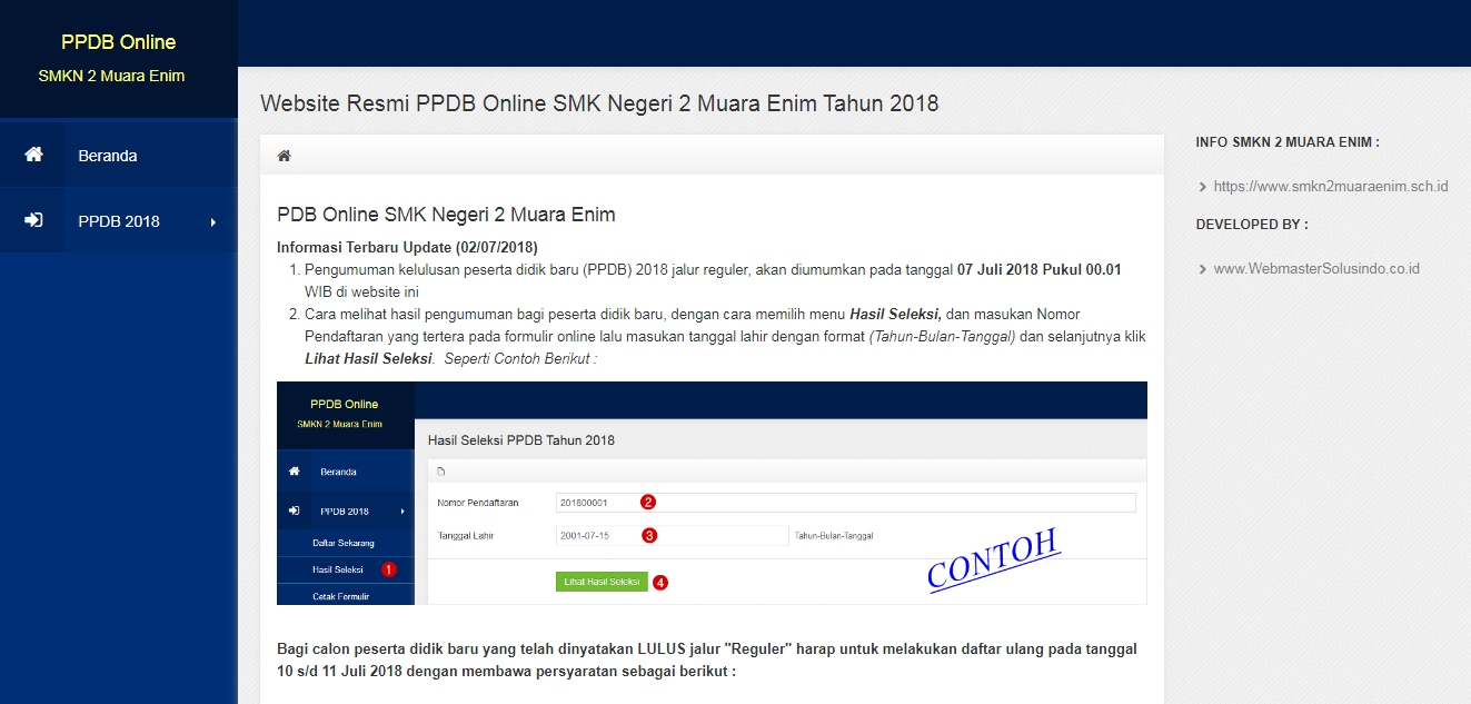Aplikasi Web PPDB SMKN 2 Muara Enim Sumatera Selatan