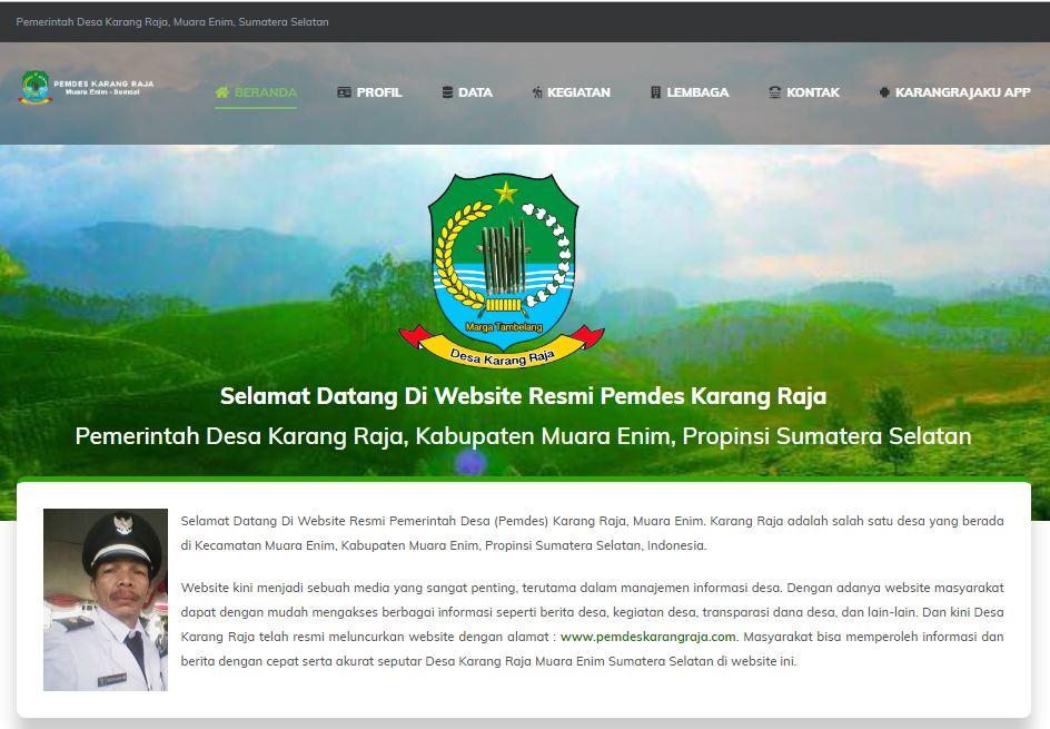 Website Pemdes Karang Raja Muara Enim, Sumatera Selatan