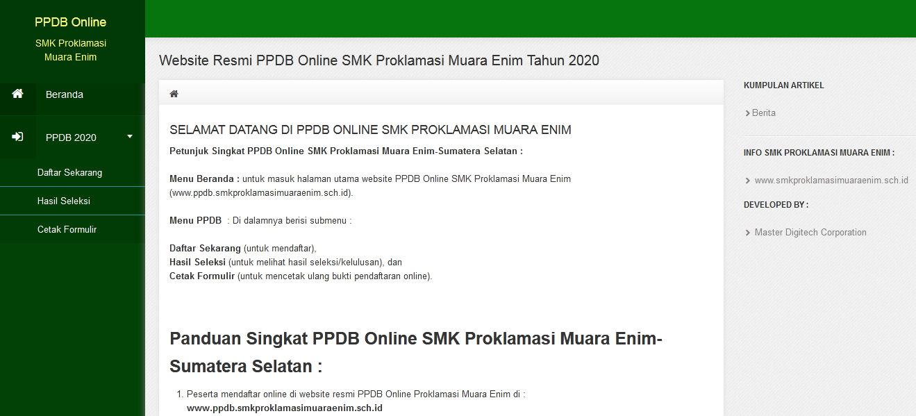 Website PPDB Online SMK Proklamasi Muara Enim