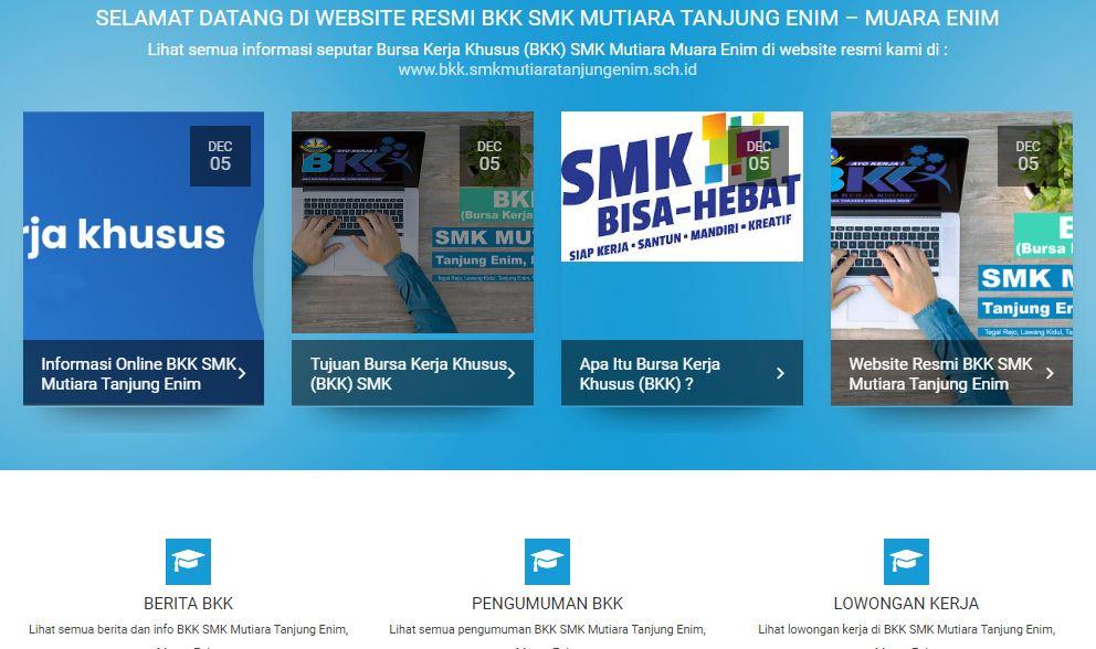 Website BKK Sekolah SMK Mutiara Tanjung Enim, Muara Enim