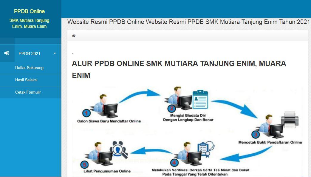 Website PPDB Online SMK Mutiara Tanjung Enim