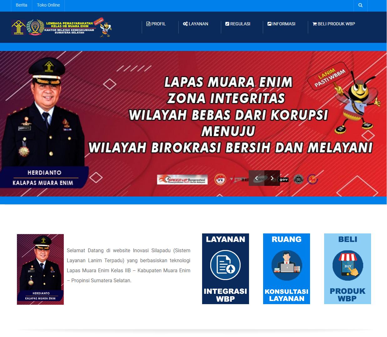 Website Inovasi SILAPADU Untuk Lapas Muara Enim