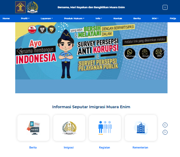 Website Kantor Imigrasi Muara Enim-Sumatera Selatan